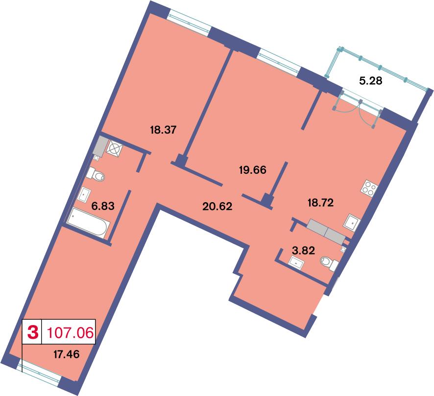 3-к.кв, 110.76 м²