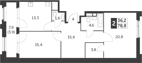 2-к.кв, 82.7 м²