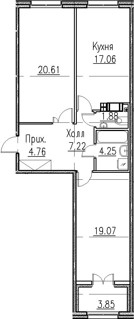 3-к.кв (евро), 78.7 м²