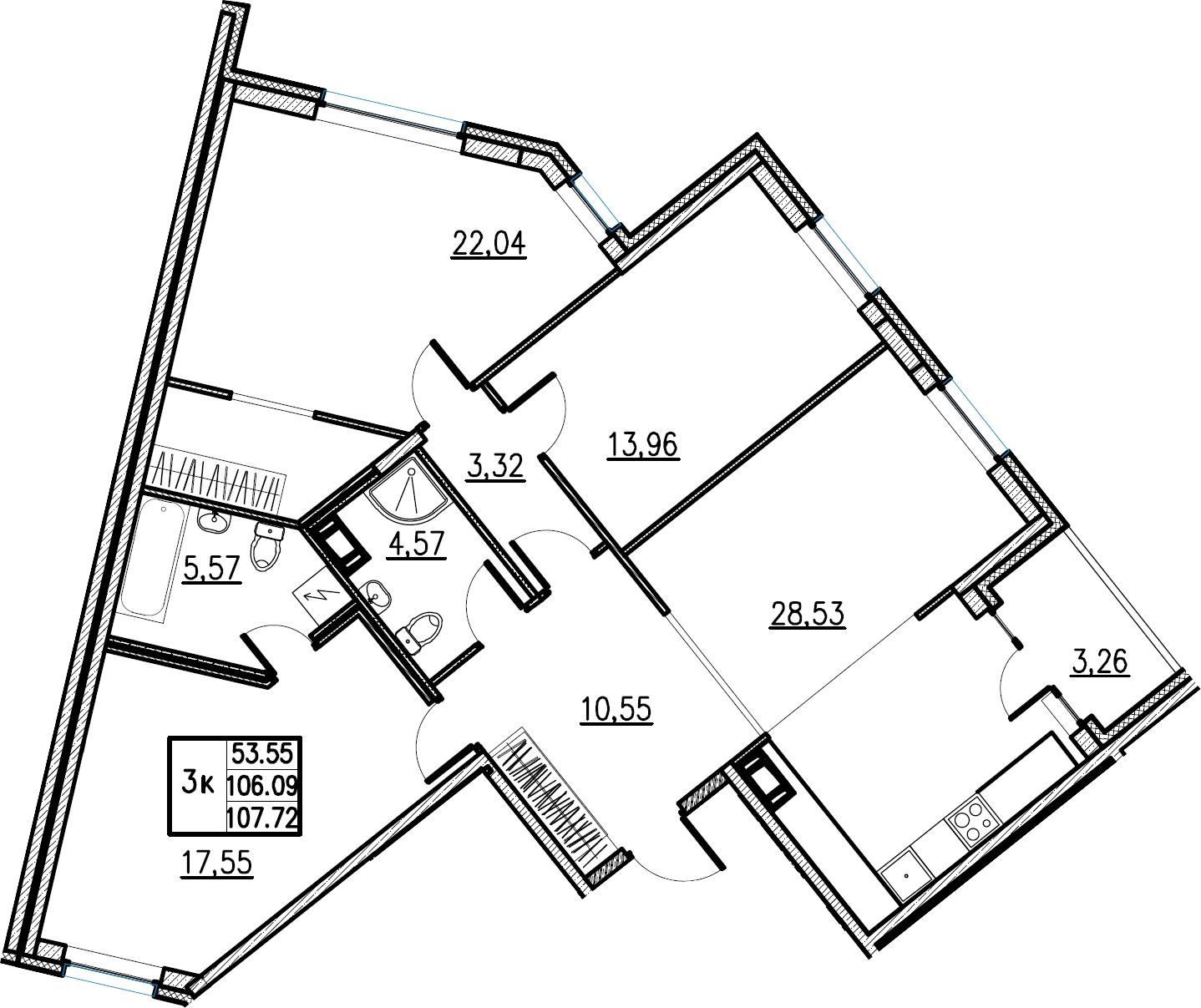 4Е-комнатная, 107.72 м²– 2