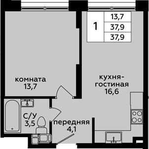 2-к.кв (евро), 37.9 м²