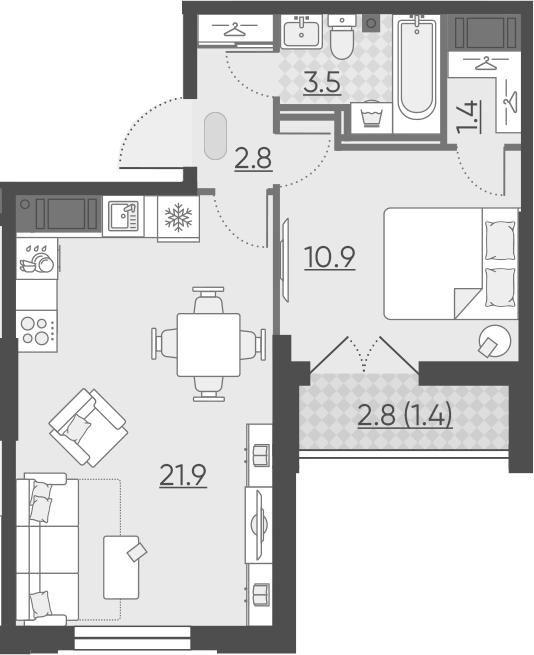 2-к.кв (евро), 43.4 м²