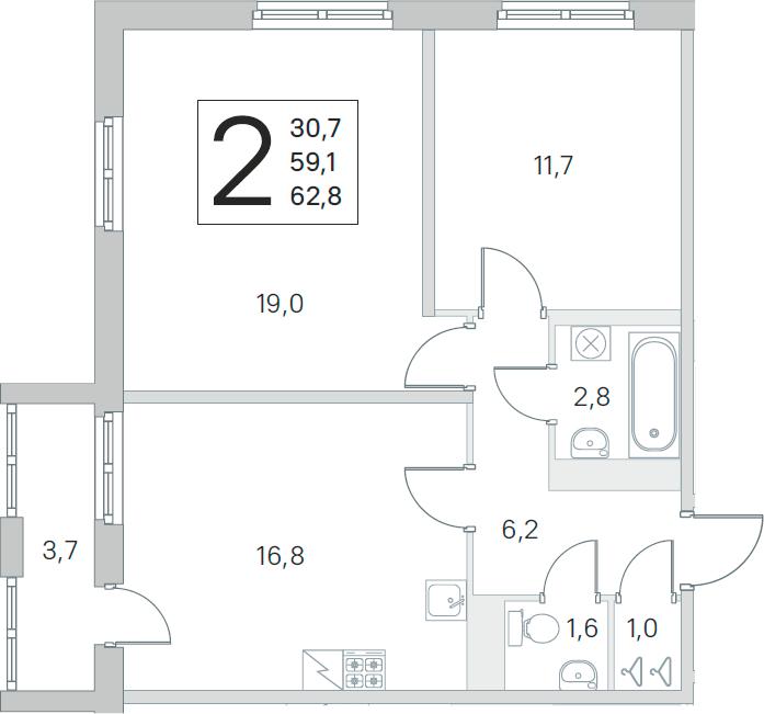 2-комнатная, 59.1 м²– 2
