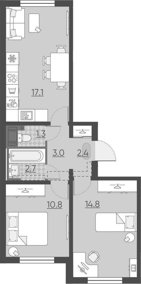 3Е-комнатная, 52.1 м²– 2