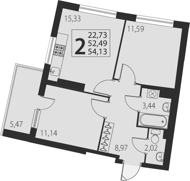 3-к.кв (евро), 57.96 м²