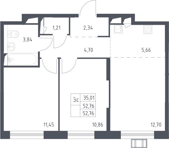 3Е-комнатная, 52.76 м²– 2