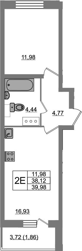 2Е-к.кв, 39.98 м², 22 этаж