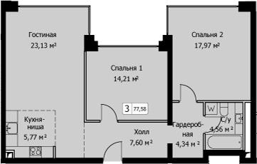 3-к.кв (евро), 77.58 м²