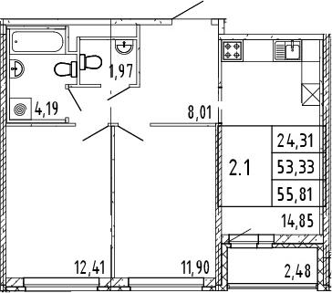 3Е-комнатная квартира, 54.57 м², 8 этаж – Планировка