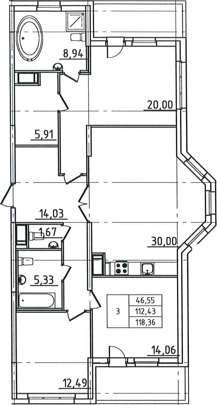 4Е-комнатная, 118.36 м²– 2