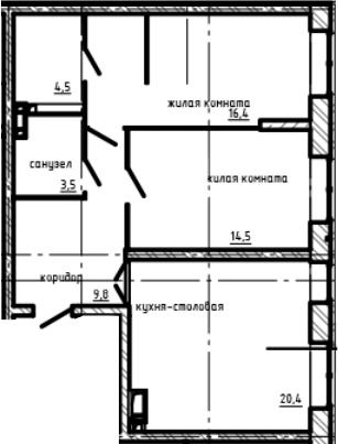 2-комнатная, 69.1 м²– 2