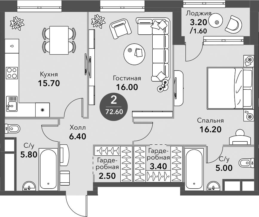 3Е-к.кв, 72.6 м², от 10 этажа