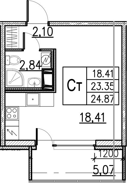 Студия, 24.87 м²– 2