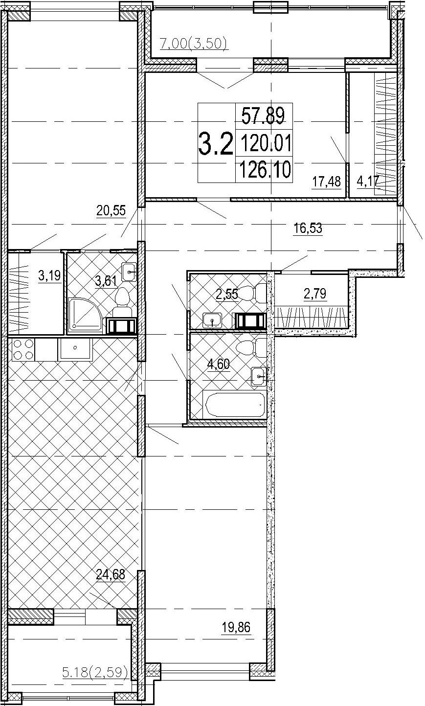 4Е-комнатная, 126.1 м²– 2