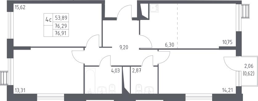 4Е-комнатная, 76.91 м²– 2