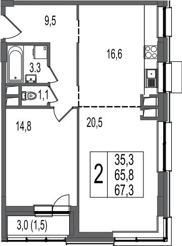 2-к.кв, 67.3 м²