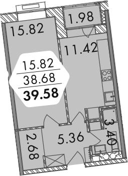 1-к.кв, 40.66 м²