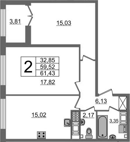 2-к.кв, 59.52 м²