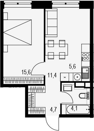 2Е-к.кв, 41.4 м², 3 этаж