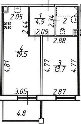 2Е-к.кв, 43.5 м²