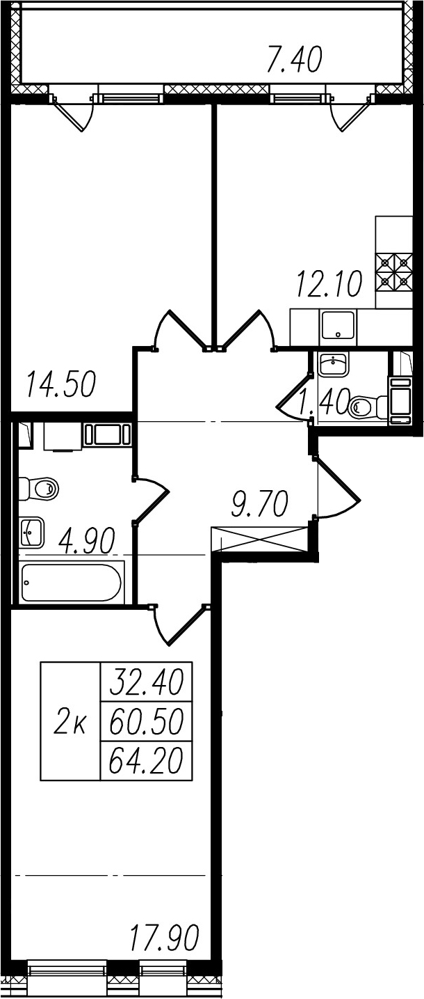 2-комнатная, 60.5 м²– 2