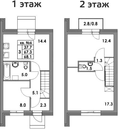 Таунхаусы, 69.97 м²
