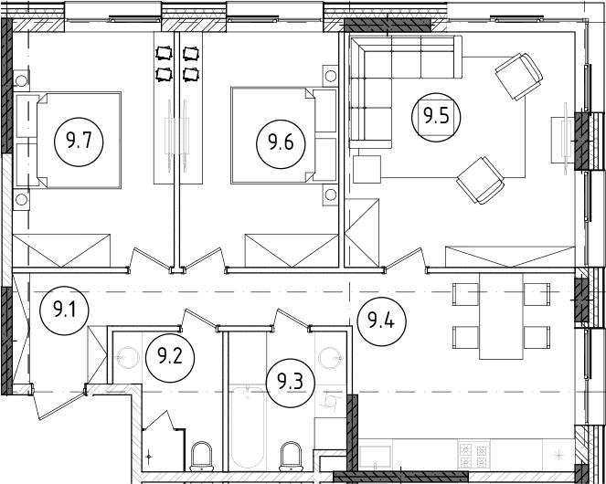 4Е-к.кв, 77.75 м²