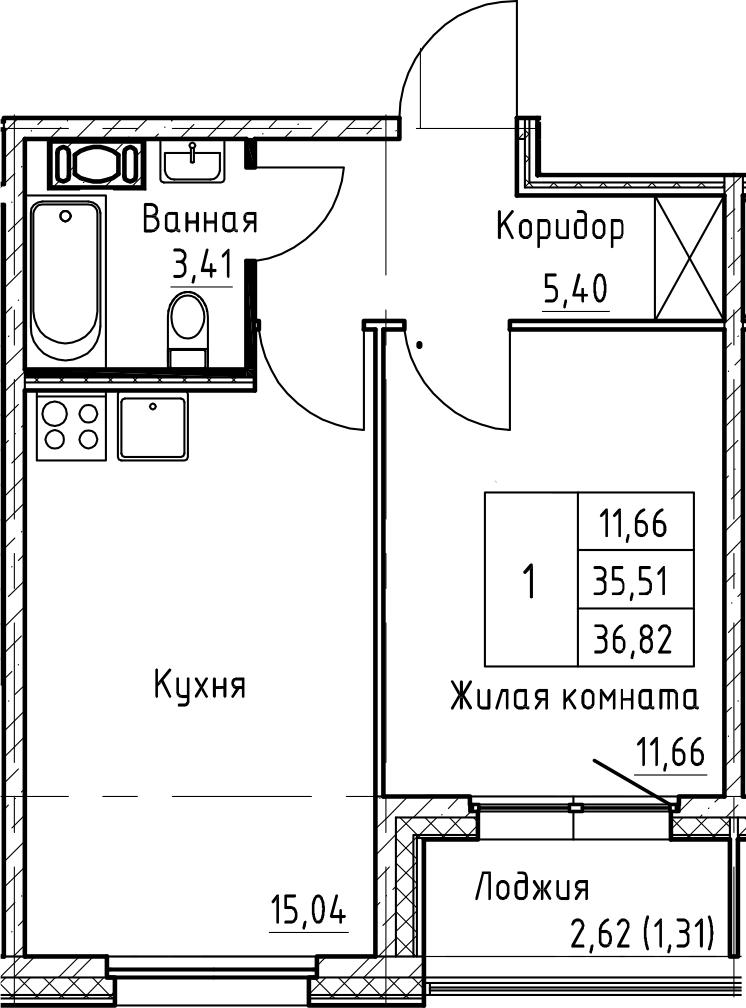 2Е-к.кв, 36.82 м², 12 этаж
