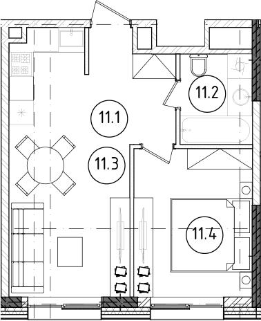 2Е-к.кв, 36.27 м², 5 этаж