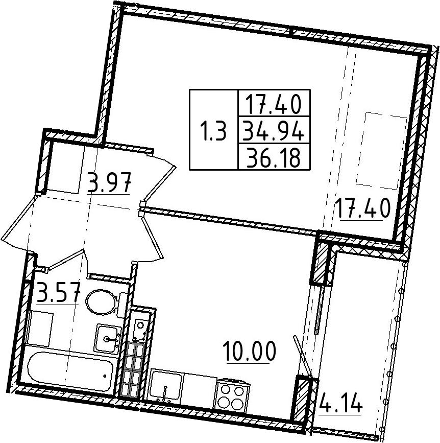 1-комнатная, 36.18 м²– 2