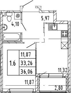 1-комнатная, 33.26 м²– 2