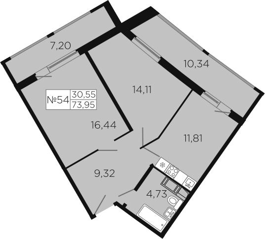 2-к.кв, 91.49 м²