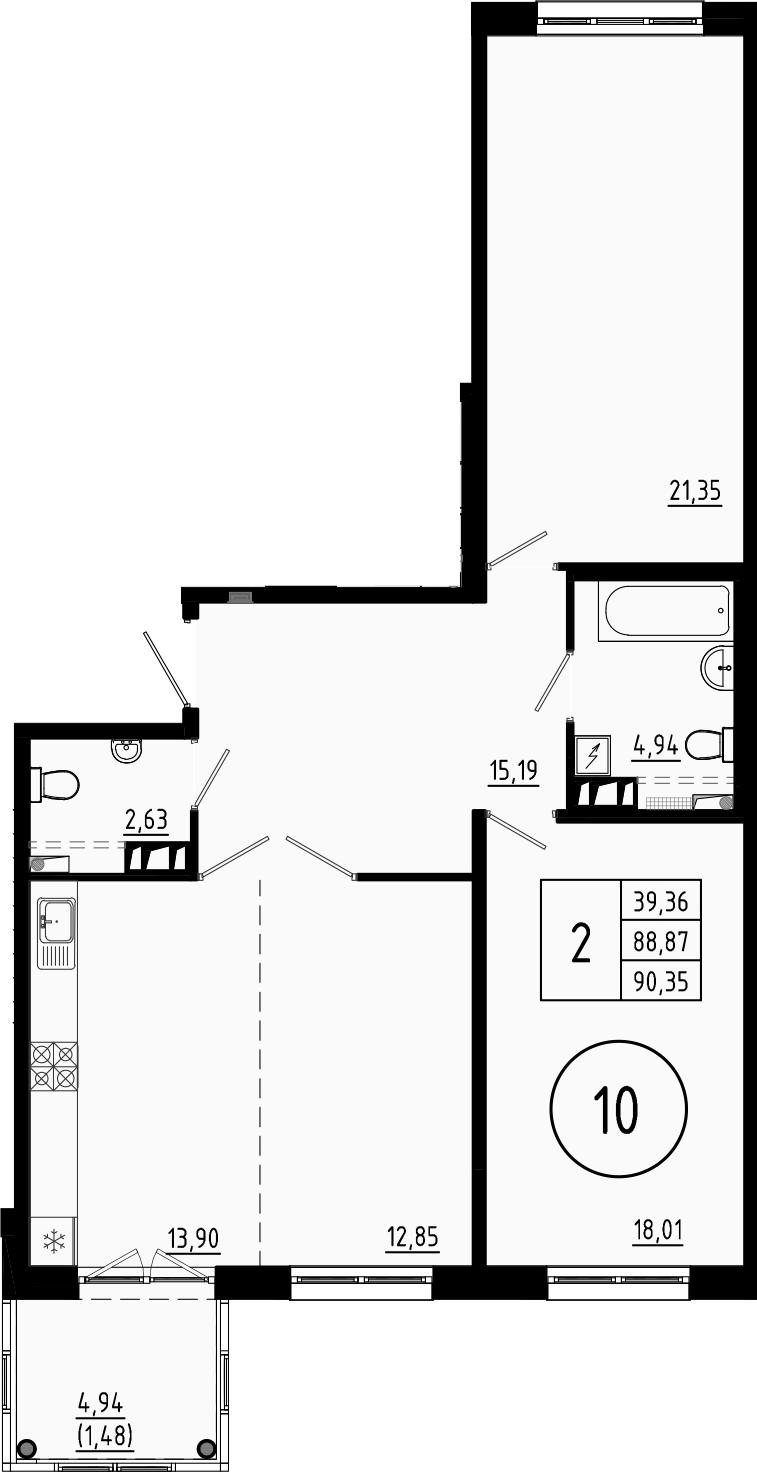 3Е-комнатная, 89.6 м²– 2