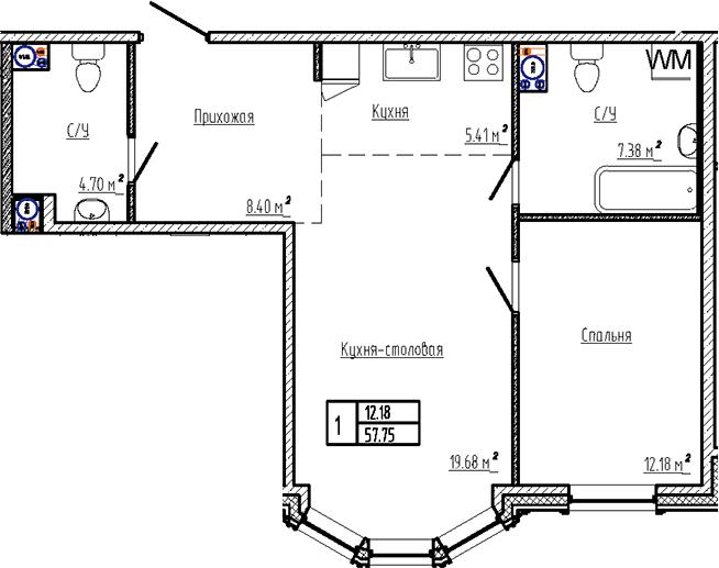 2Е-к.кв, 57.75 м², 3 этаж