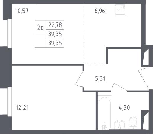 2Е-комнатная, 39.35 м²– 2