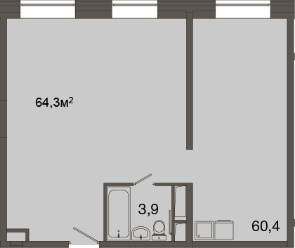 Свободная планировка, 64.3 м²– 2