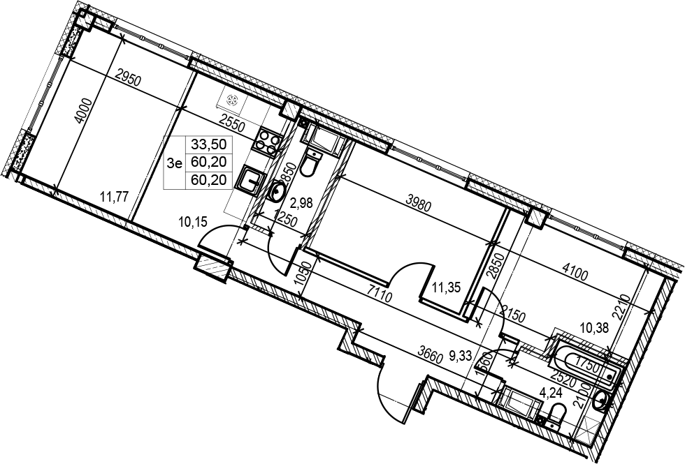 3Е-к.кв, 60.2 м², 3 этаж