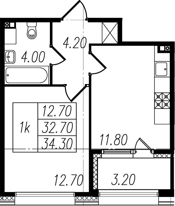1-к.кв, 32.7 м², 1 этаж