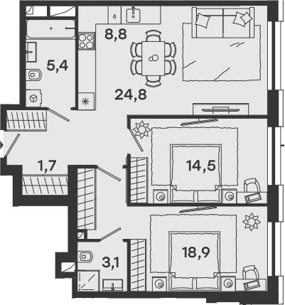 3-к.кв (евро), 77.2 м²
