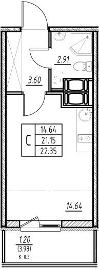 Студия, 21.15 м², 24 этаж
