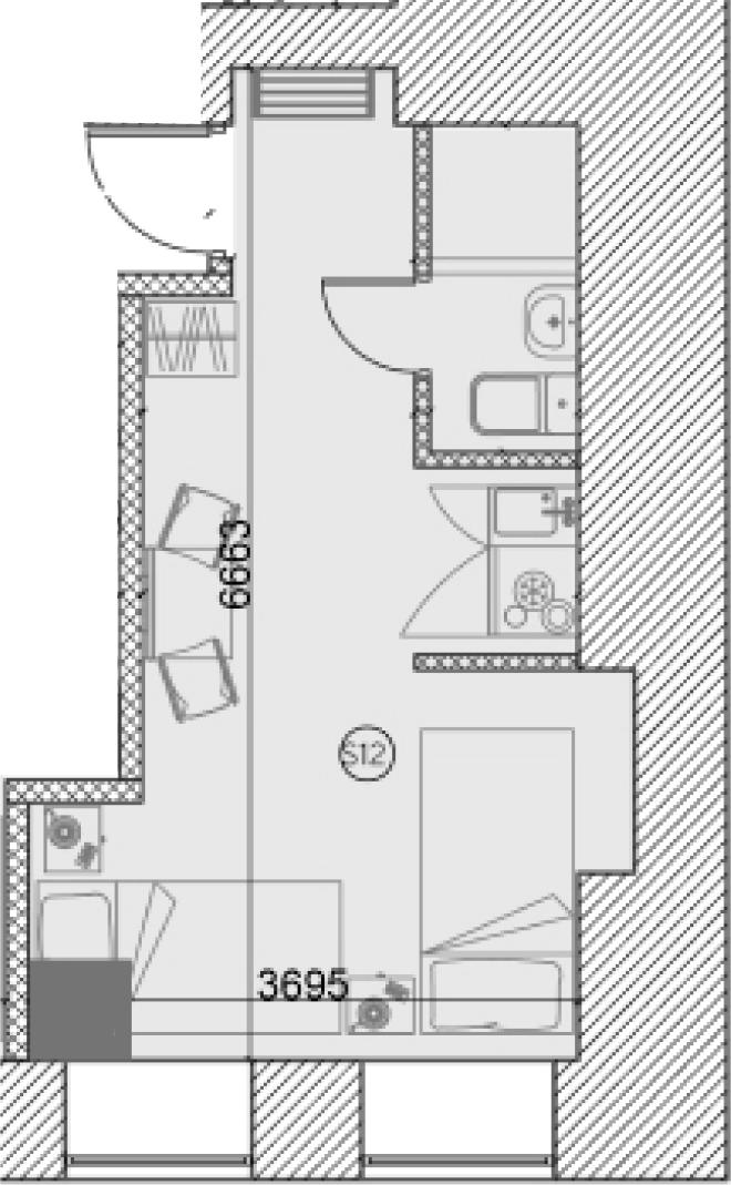 Свободная планировка, 19.63 м²– 2