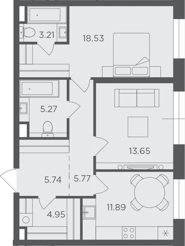 2-к.кв, 69.01 м², 4 этаж