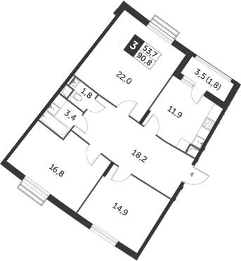 3-комнатная, 90.8 м²– 2