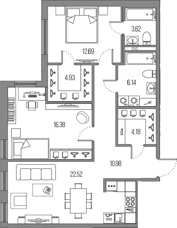 3Е-комнатная, 81.44 м²– 2