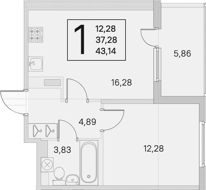 2Е-комнатная, 37.28 м²– 2