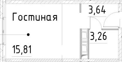 Студия, 22.71 м²