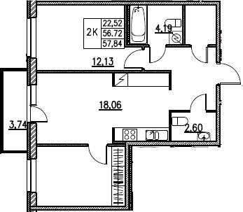 3Е-комнатная, 57.84 м²– 2