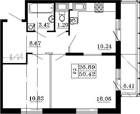 2-к.кв, 56.83 м²