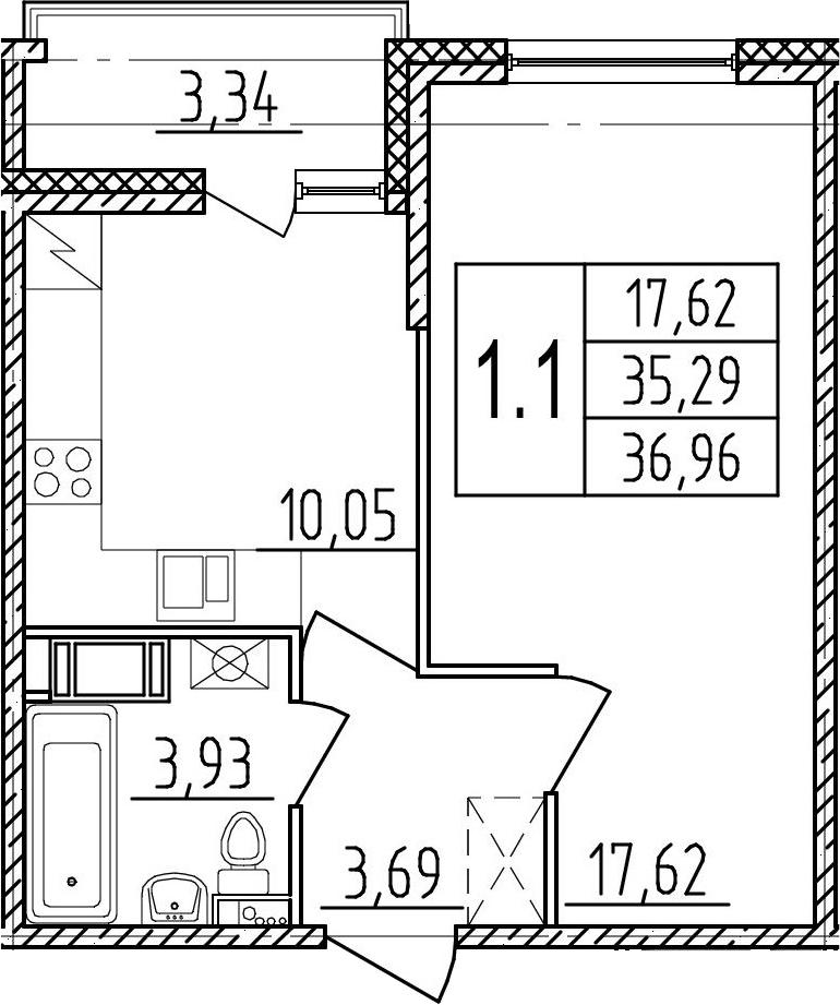 1-комнатная, 35.29 м²– 2