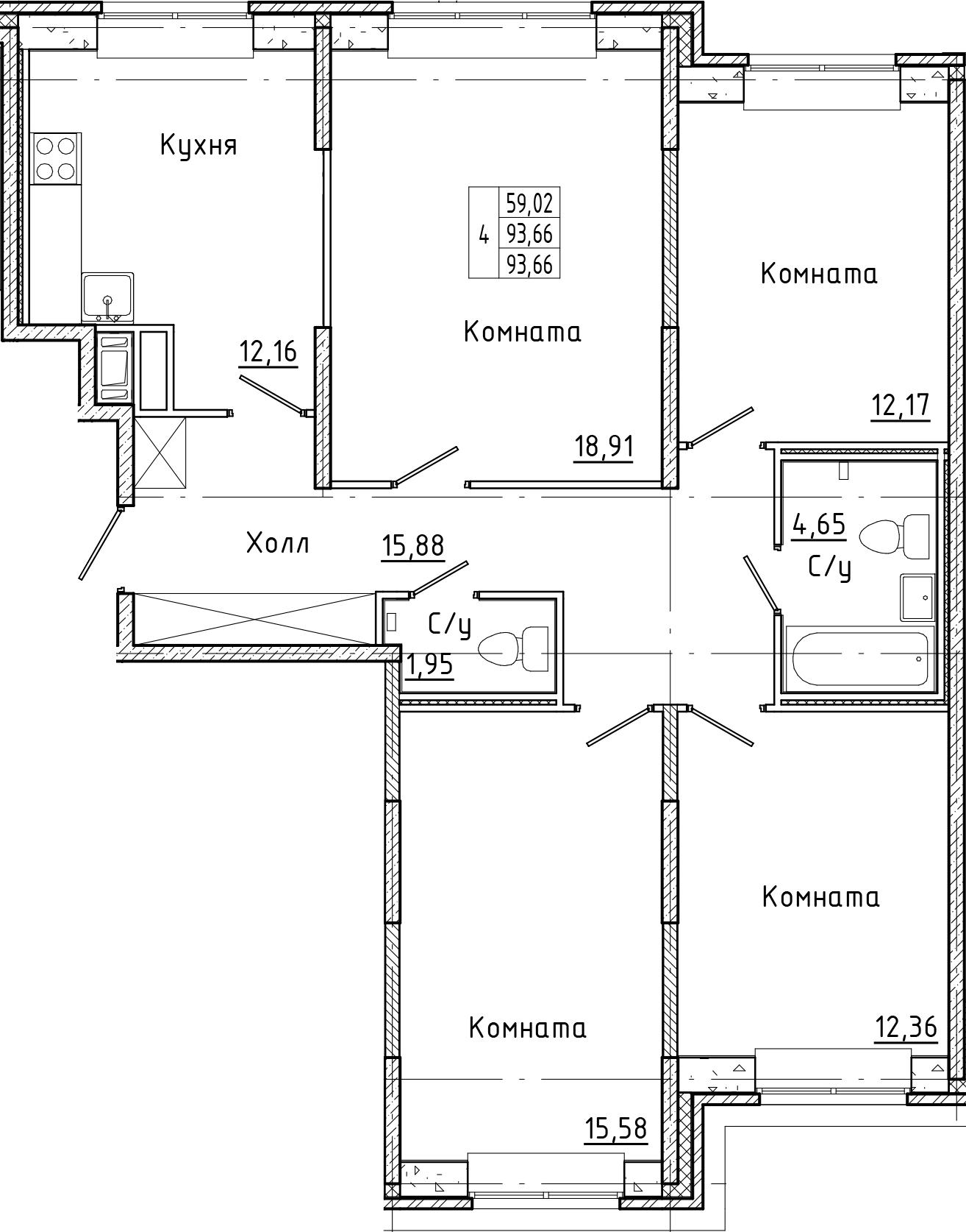 4-к.кв, 93.66 м²